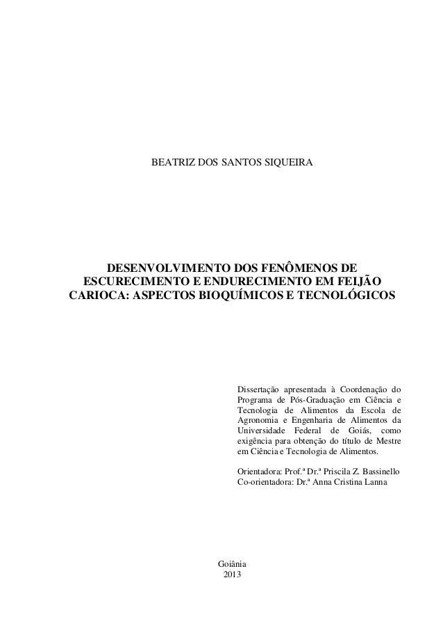Siqueira   desenvolvimento dos fenômenos de escurecimento e endurecimento em feijão carioca Slide 2
