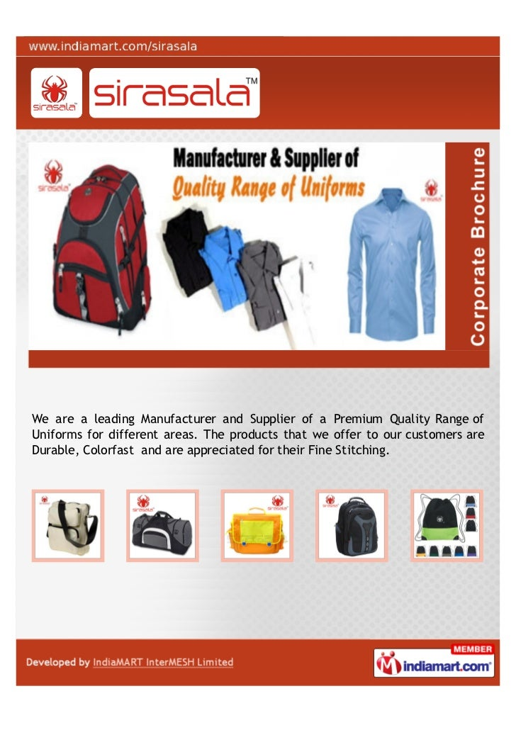 We are a leading Manufacturer and Supplier of a Premium Quality Range ofUniforms for different areas. The products that we...