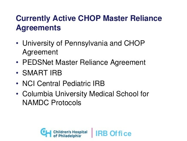 Single irb review of clinical research irb ofce currently active chop master reliance agreements platinumwayz