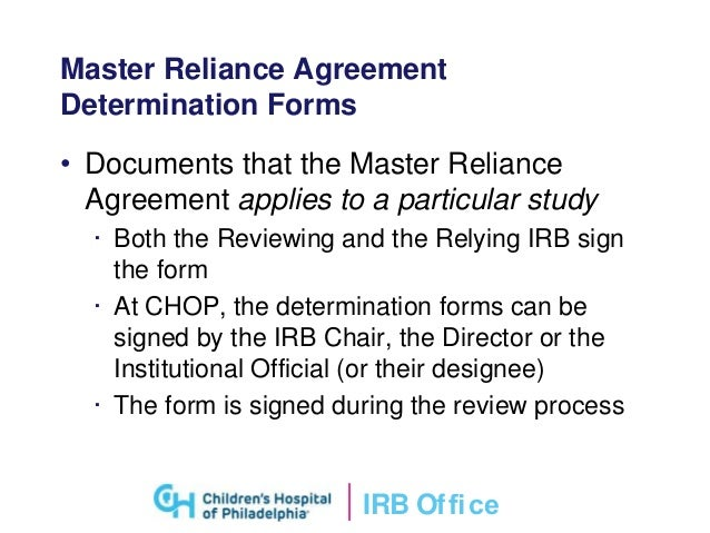 Single irb review of clinical research irb ofce master reliance agreement platinumwayz