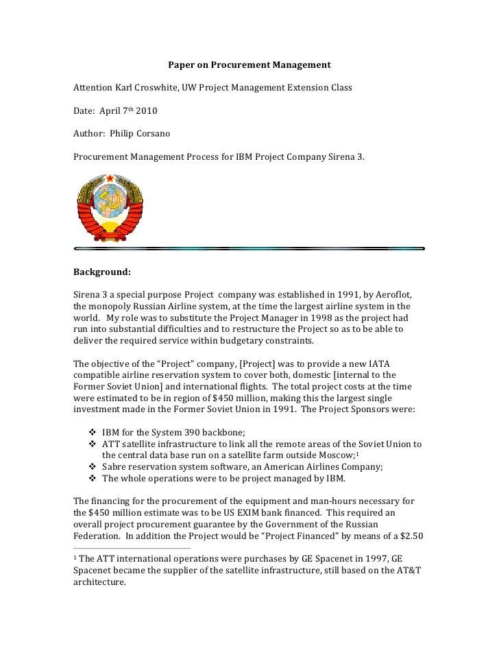 Paper  on  Procurement  Management      Attention  Karl  Croswhite,  UW  Project  Management  Extens...
