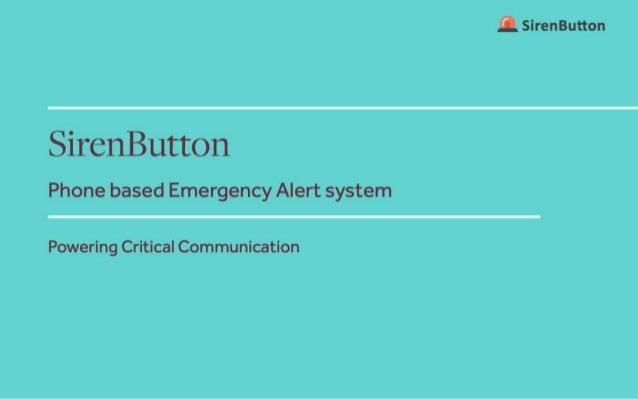 Siren button - Phone based Emergency Alert System