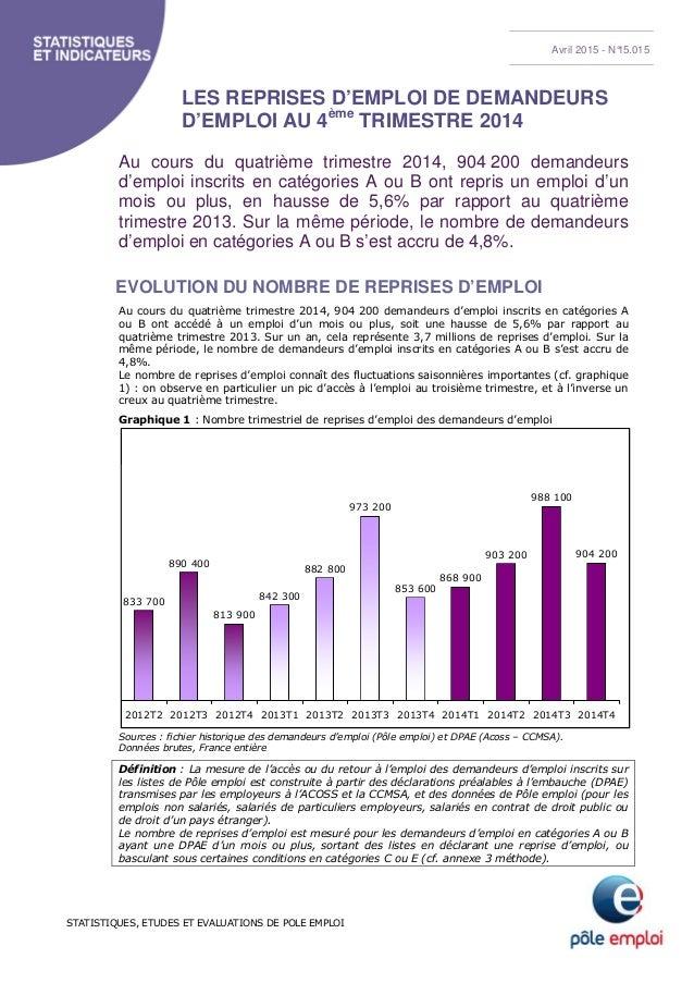 STATISTIQUES, ETUDES ET EVALUATIONS DE POLE EMPLOI LES REPRISES D'EMPLOI DE DEMANDEURS D'EMPLOI AU 4ème TRIMESTRE 2014 Au ...