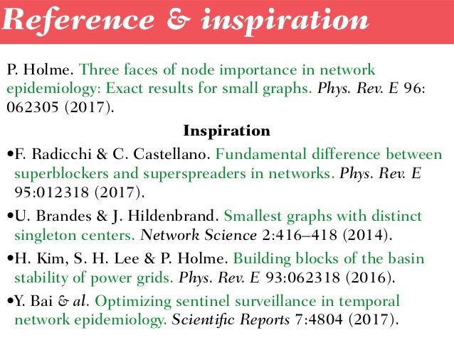 P. Holme.Three faces of node importance in network epidemiology: Exact results for small graphs. Phys. Rev. E96: 062305 ...