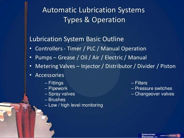 Lsc Oil Mist Systems : Automatic lubrication systems their maintenance v