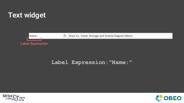 """Text widget Initial Operation: Begin Initial Operation Set → Value Expression: """"aql:newValue"""" Set → Feature Name:""""name"""" Mo..."""