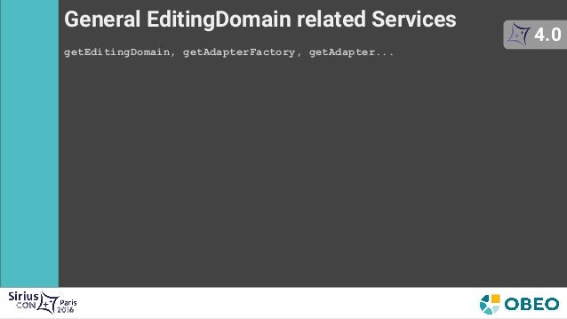 General EditingDomain related Services getEditingDomain, getAdapterFactory, getAdapter... 4.0 Item Providers Services getL...