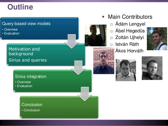 Outline Query-based view models • Overview • Evaluation Motivation and background Sirius and queries Sirius integration • ...