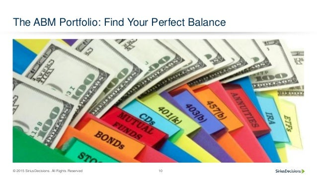 © 2015 SiriusDecisions. All Rights Reserved 10 The ABM Portfolio: Find Your Perfect Balance