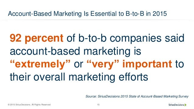 © 2015 SiriusDecisions. All Rights Reserved 15 Account-Based Marketing Is Essential to B-to-B in 2015 92 percent of b-to-b...