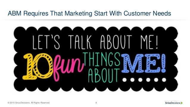 © 2015 SiriusDecisions. All Rights Reserved 8 ABM Requires That Marketing Start With Customer Needs