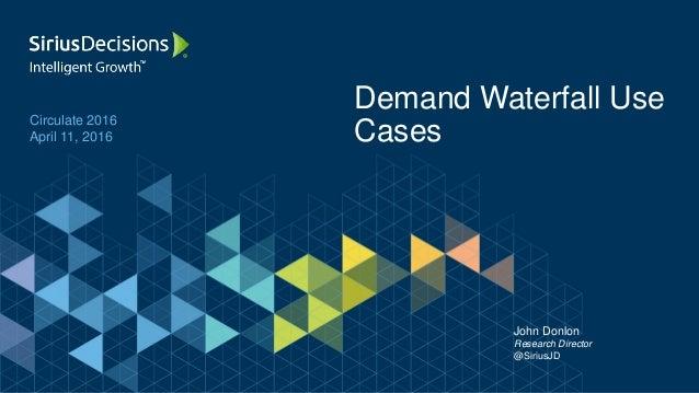 Circulate 2016 April 11, 2016 Demand Waterfall Use Cases John Donlon Research Director @SiriusJD