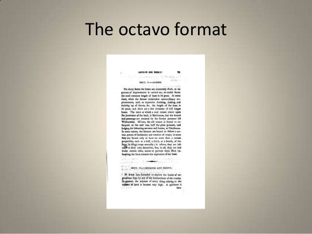 The octavo format