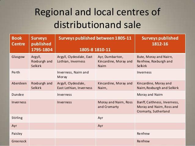 Regional and local centres of                 distributionand saleBook        Surveys         Surveys published between 18...
