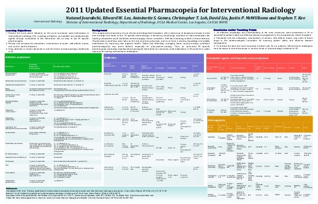 2011 Updated Essential Pharmacopeia for Interventional Radiology                                                          ...