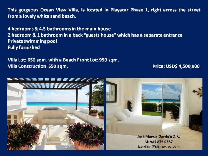 Beachfront Villa - Playa del Carmen, Quintana RooPrice US$ 3,015,000 (sale) Area 576 m2 / 6,200 Sqft Bedrooms 3 Bathrooms ...