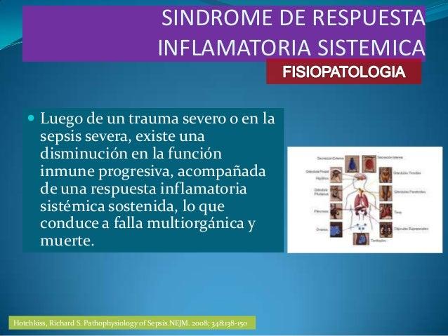  Luego de un trauma severo o en lasepsis severa, existe unadisminución en la funcióninmune progresiva, acompañadade una r...