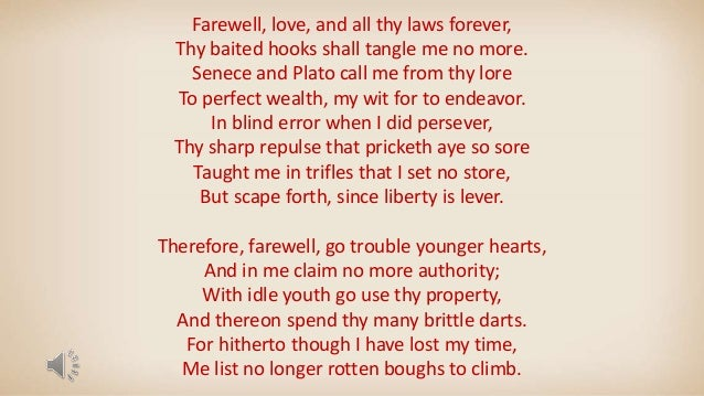 Farewell love Sir Thomas Wyatt /Poetry
