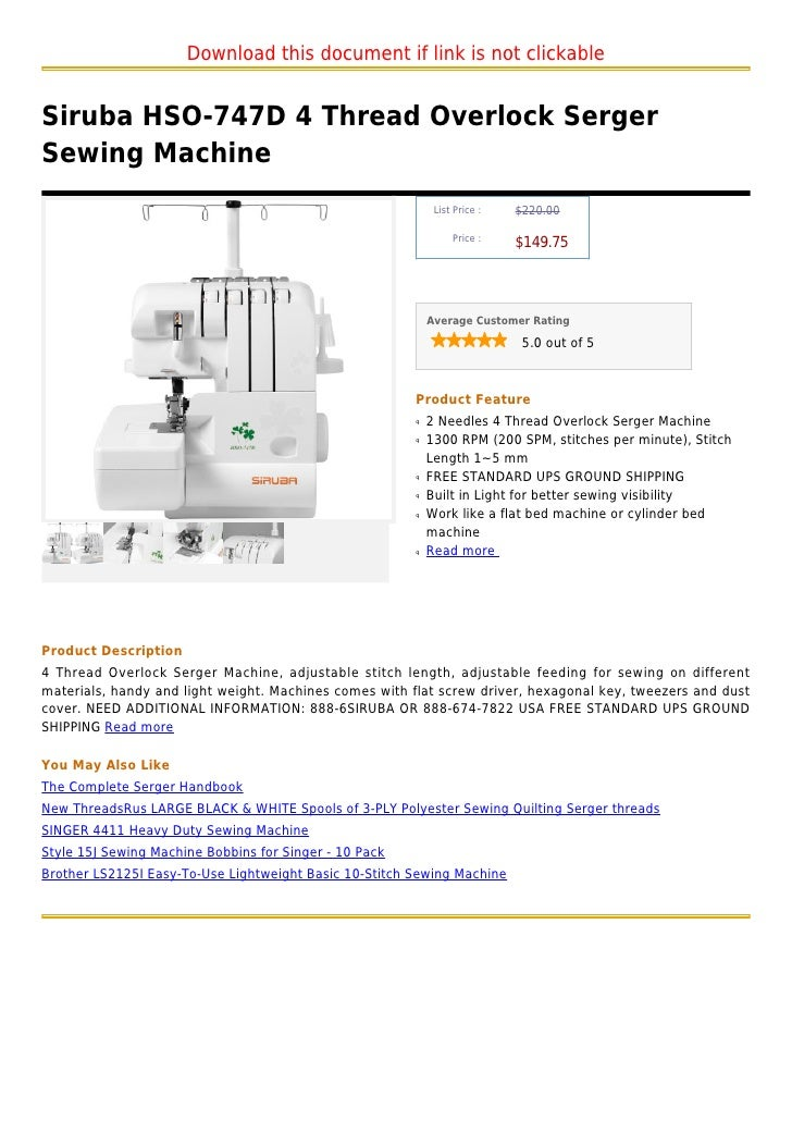Download this document if link is not clickableSiruba HSO-747D 4 Thread Overlock SergerSewing Machine                     ...