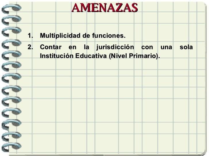 AMENAZAS <ul><li>Multiplicidad de funciones. </li></ul><ul><li>Contar en la jurisdicción con una sola Institución Educativ...