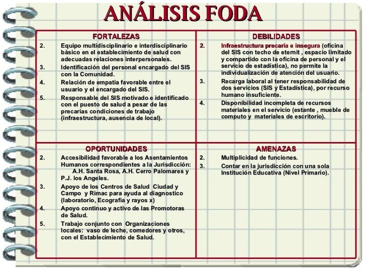 ANÁLISIS FODA <ul><li>AMENAZAS </li></ul><ul><li>Multiplicidad de funciones. </li></ul><ul><li>Contar en la jurisdicción c...