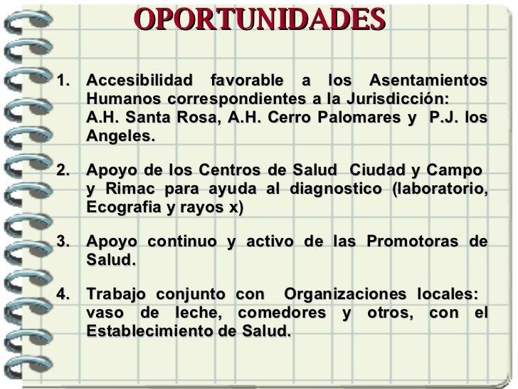 OPORTUNIDADES <ul><li>Accesibilidad favorable a los Asentamientos Humanos correspondientes a la Jurisdicción:  A.H. Santa ...