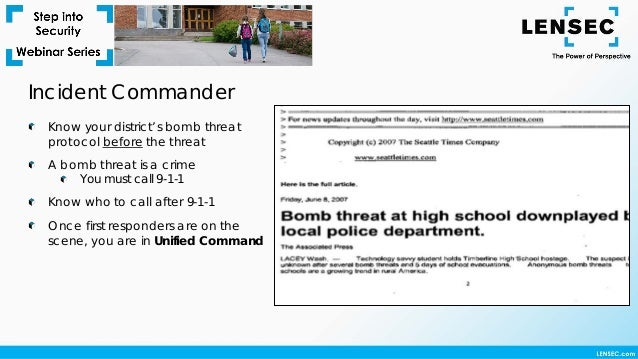 Step Into Security Webinar – Best Practices for Bomb Threat Response …