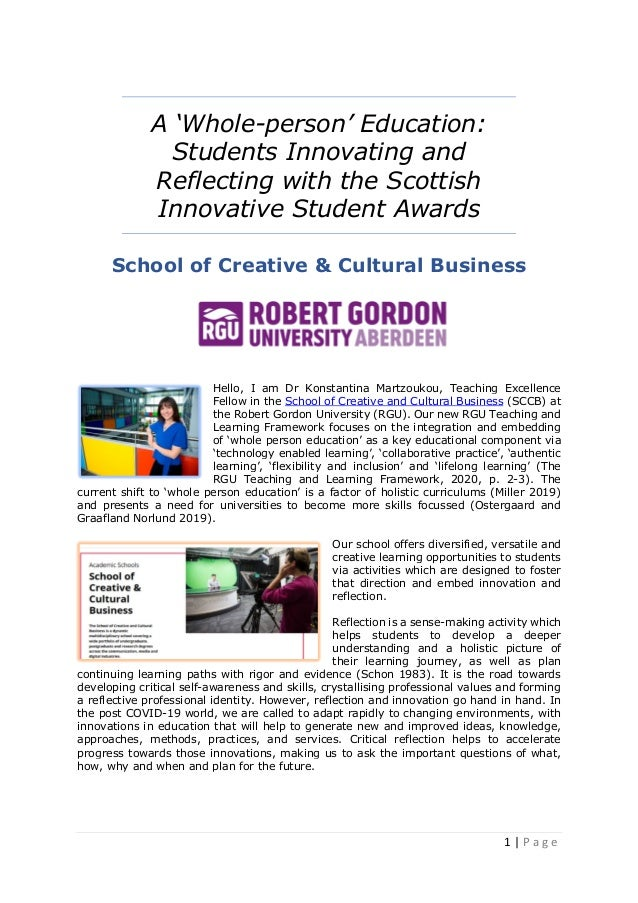 1   P a g e A 'Whole-person' Education: Students Innovating and Reflecting with the Scottish Innovative Student Awards Sch...