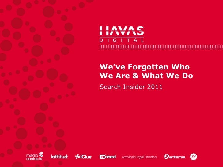 We've Forgotten Who We Are & What We Do Search Insider 2011