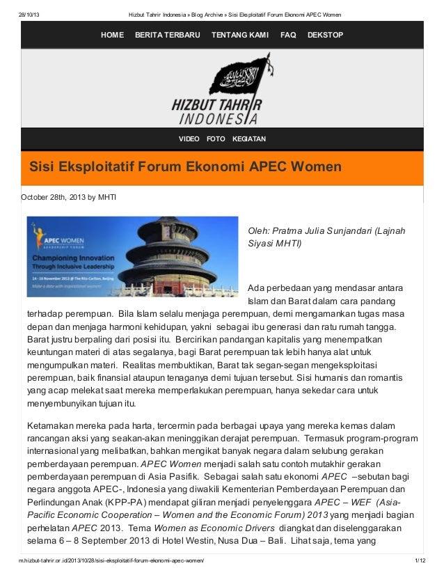 28/10/13  Hizbut Tahrir Indonesia » Blog Archive » Sisi Eksploitatif Forum Ekonomi APEC Women  HOME  BERITA TERBARU  VIDEO...