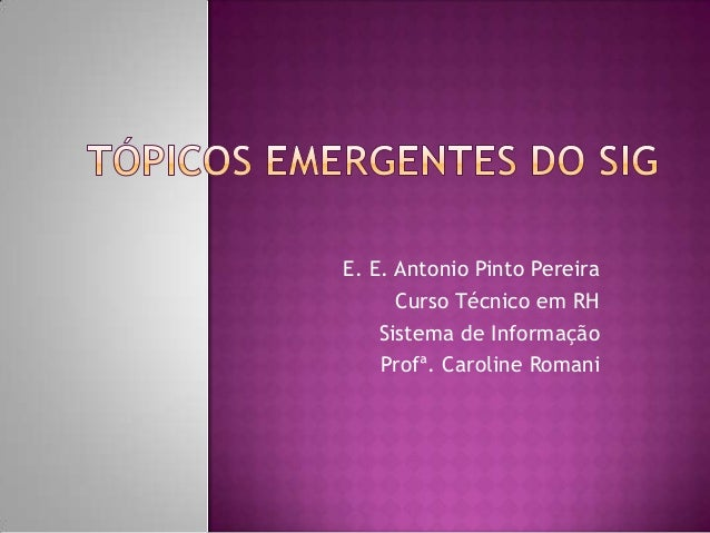 E. E. Antonio Pinto Pereira      Curso Técnico em RH    Sistema de Informação    Profª. Caroline Romani