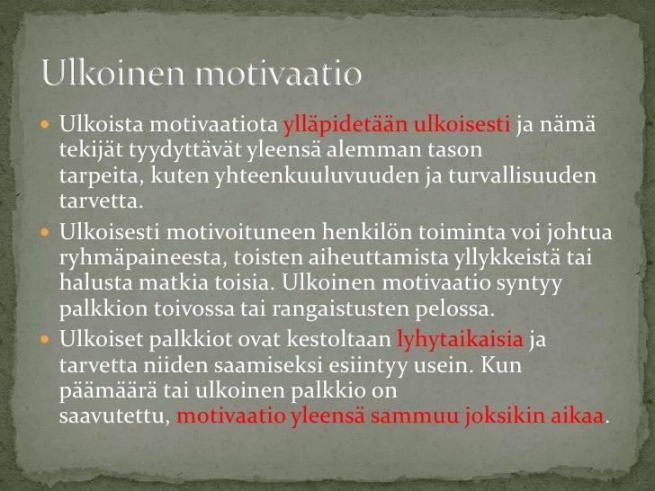 Sisäinen Ja Ulkoinen Motivaatio