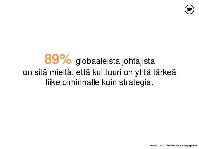 89% globaaleista johtajista on sitä mieltä, että kulttuuri on yhtä tärkeä liiketoiminnalle kuin strategia. Bain&Co 2012: T...