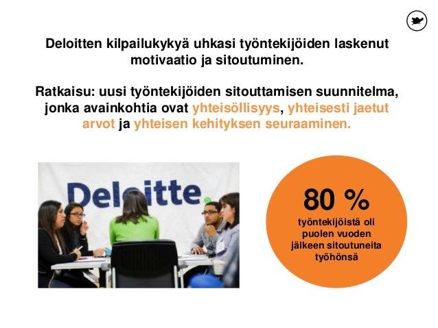 Deloitten kilpailukykyä uhkasi työntekijöiden laskenut motivaatio ja sitoutuminen. Ratkaisu: uusi työntekijöiden sitouttam...