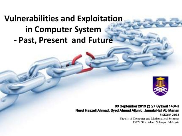 Vulnerabilities and Exploitation in Computer System - Past, Present and Future 03 September 2013 @ 27 Syawal 1434H Nurul H...