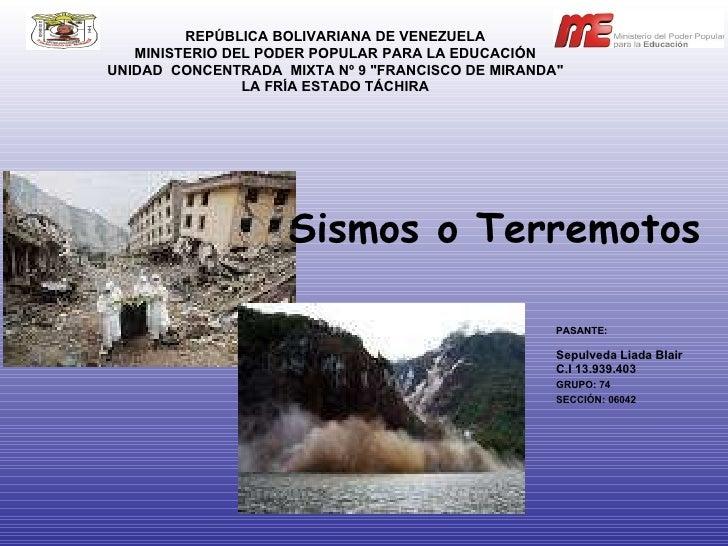 """REPÚBLICA BOLIVARIANA DE VENEZUELA MINISTERIO DEL PODER POPULAR PARA LA EDUCACIÓN UNIDAD  CONCENTRADA  MIXTA Nº 9 """"FR..."""