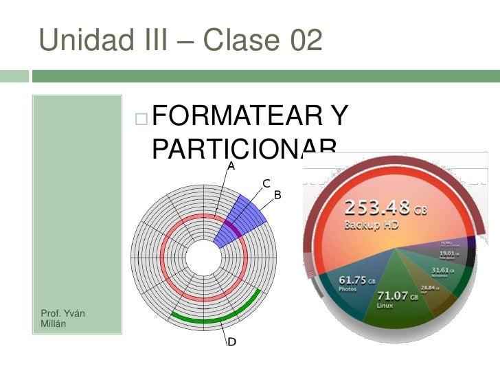 Unidad III – Clase 02                  FORMATEAR Y                  PARTICIONAR     Prof. Yván Millán