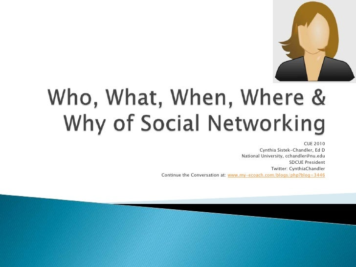 Who, What, When, Where & Why of Social Networking<br />CUE 2010<br />Cynthia Sistek-Chandler, Ed D<br />National Universit...