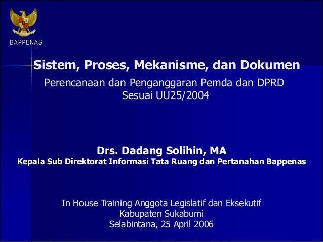 Sistem, Proses, Mekanisme, dan Dokumen Drs. Dadang Solihin, MA Kepala Sub Direktorat Informasi Tata Ruang dan Pertanahan B...