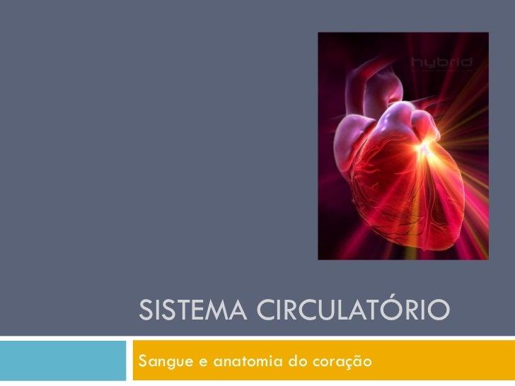 SISTEMA CIRCULATÓRIO Sangue e anatomia do coração