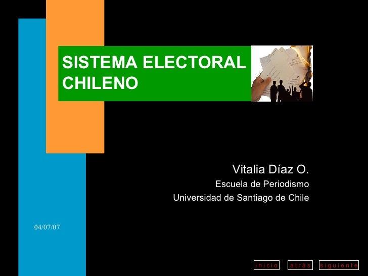 Vitalia Díaz O. Escuela de Periodismo Universidad de Santiago de Chile SISTEMA ELECTORAL CHILENO