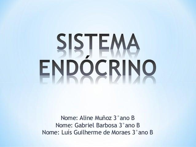 Nome: Aline Muñoz 3°ano B Nome: Gabriel Barbosa 3°ano B Nome: Luís Guilherme de Moraes 3°ano B