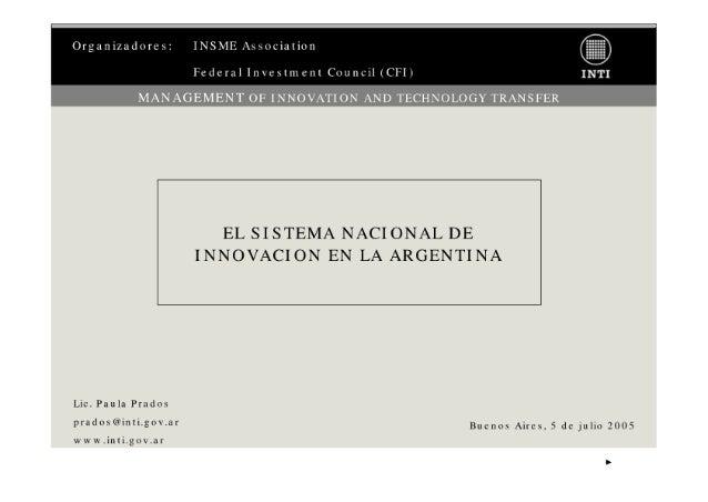 Sistema Nacional de Innovación [INTI]