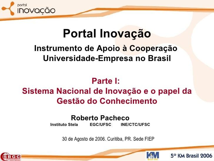 Portal Inovação Instrumento de Apoio à Cooperação  Universidade-Empresa no Brasil Parte I:  Sistema Nacional de Inovação e...