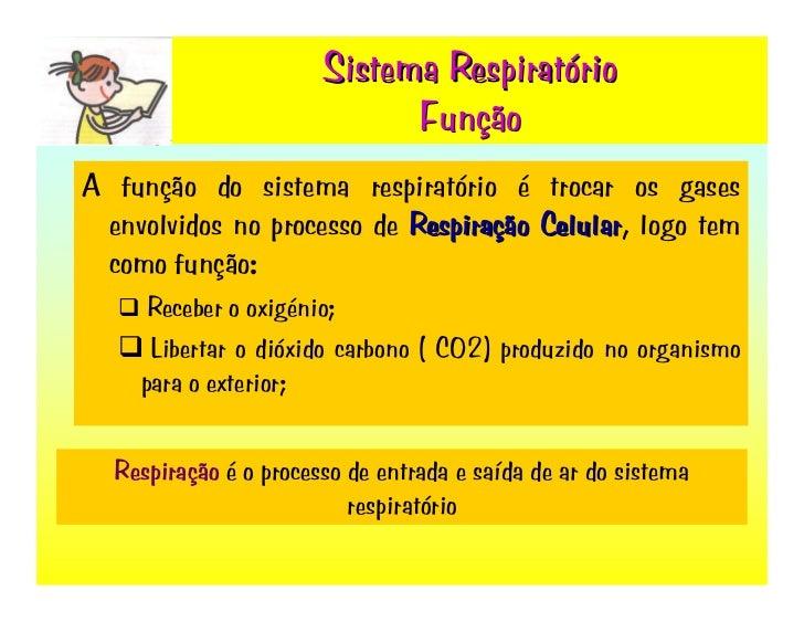 Sistema Respiratório                              Função A função do sistema respiratório é trocar os gases  envolvidos no...