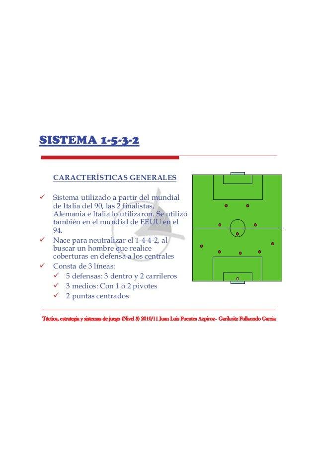 SISTEMA 1-5-3-2 CARACTERÍSTICAS GENERALES Sistema utilizado a partir del mundial de Italia del 90, las 2 finalistas, Alema...