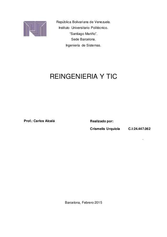 """República Bolivariana de Venezuela. Instituto Universitario Politécnico. """"Santiago Mariño"""". Sede Barcelona. Ingeniería de ..."""