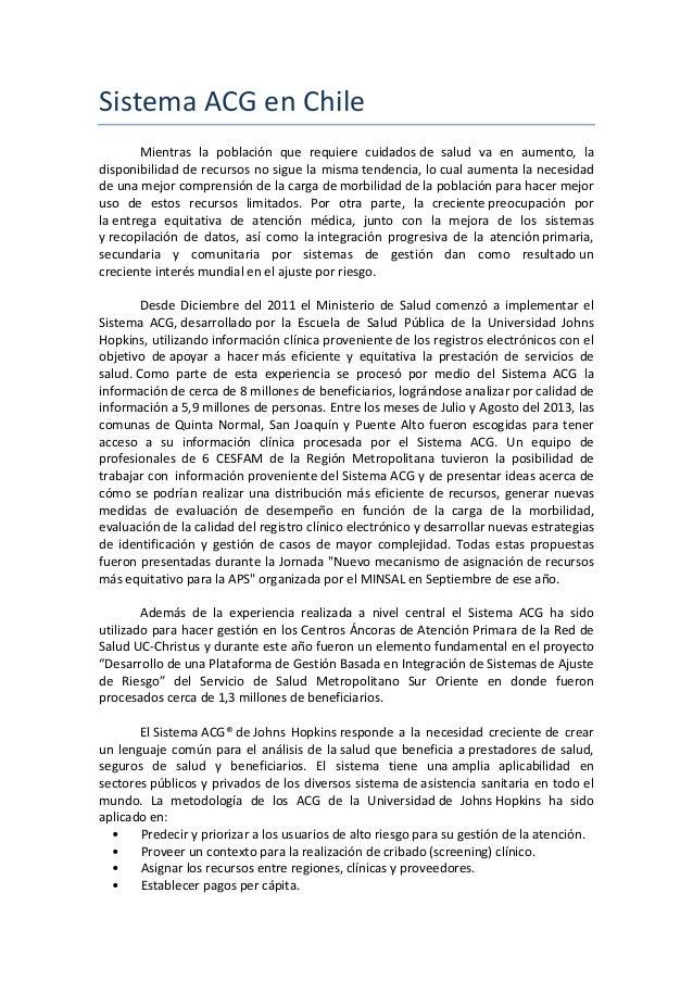 Sistema  ACG  en  Chile   Mientras   la   población   que   requiere   cuidados  de   salud   va ...