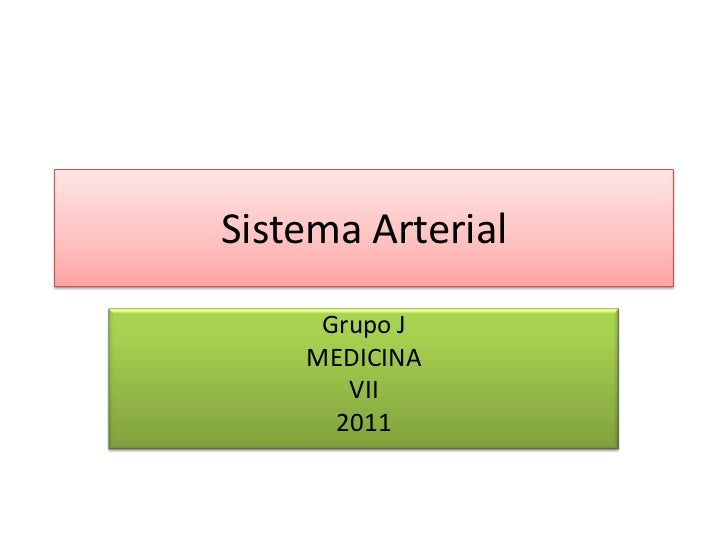 Sistema Arterial <br />Grupo J<br />MEDICINA <br />VII<br />2011<br />
