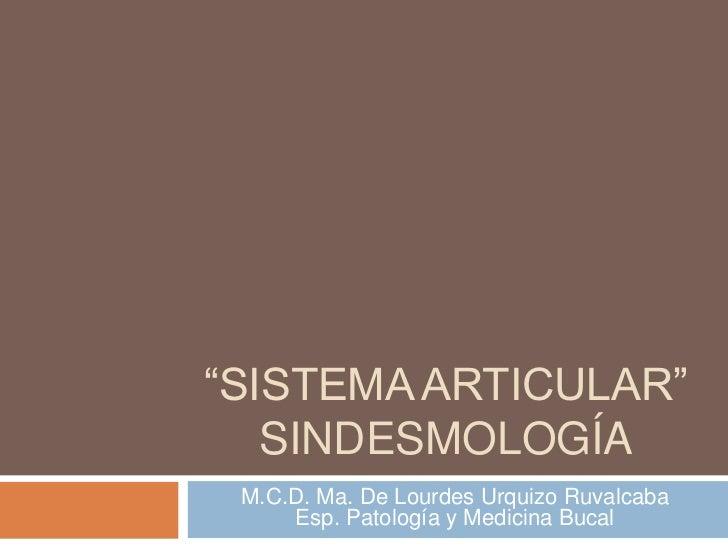 """""""SISTEMA ARTICULAR""""   SINDESMOLOGÍA M.C.D. Ma. De Lourdes Urquizo Ruvalcaba     Esp. Patología y Medicina Bucal"""